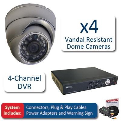 IQCCTV IQSYS4V 4 Vandal Dome CCTV Kit