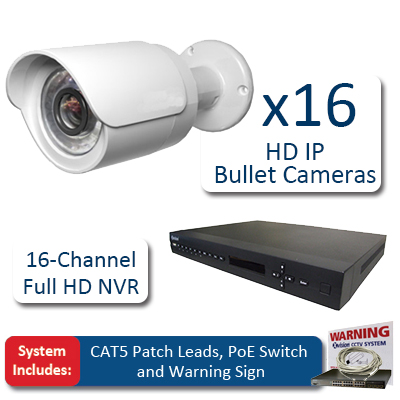 X-Vision Bullet 16 x HD IP CCTV Pack